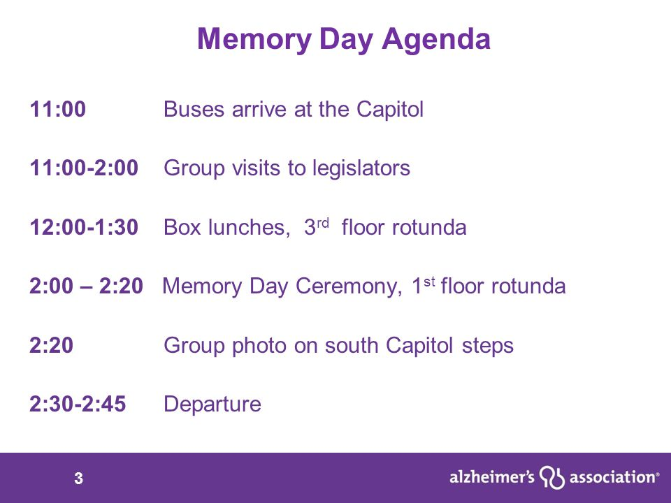 14 Memory Day Ask Three committees must approve this funding: House Appropriations Committee for Health, Mental Health and Social Services House Budget Committee Senate Appropriations Fully fund Alzheimer's grants that provide Respite Care Assistance to Missouri families $450,000 in the budget for the Department of Health and Senior Services (HB10)