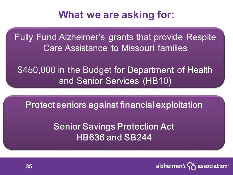 35 What we are asking for: Support Senior Savings Protection Act SB244 (Schmitt) and HB636 (Barnes) Fully Fund Alzheimer's grants that provide Respite Care Assistance to Missouri families $450,000 in the Budget for Department of Health and Senior Services (HB10) Fully Fund Alzheimer's grants that provide Respite Care Assistance to Missouri families $450,000 in the Budget for Department of Health and Senior Services (HB10) Protect seniors against financial exploitation Senior Savings Protection Act HB636 and SB244 Protect seniors against financial exploitation Senior Savings Protection Act HB636 and SB244