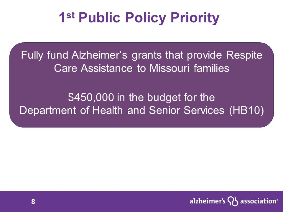 9 $450,000 for Alzheimer's grants that provide respite care assistance What: Alzheimer's grants provide critical respite care assistance to help families care for a loved one at home 70% of people with Alzheimer's are living at home because of the support families provide The value of unpaid support provided by these Missouri families is more than $4 billion Families cannot do it alone