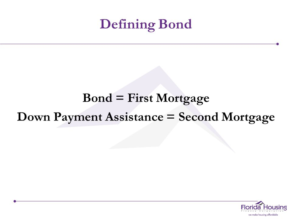 Defining Bond Bond = First Mortgage Down Payment Assistance = Second Mortgage