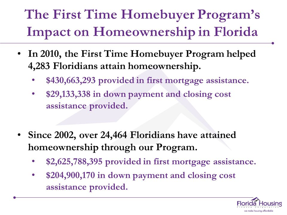 The First Time Homebuyer Program's Impact on Homeownership in Florida In 2010, the First Time Homebuyer Program helped 4,283 Floridians attain homeownership.