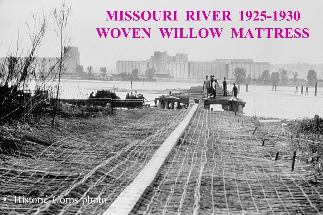 MISSOURI RIVER 1925-1930 WOVEN WILLOW MATTRESS Historic Corps photo