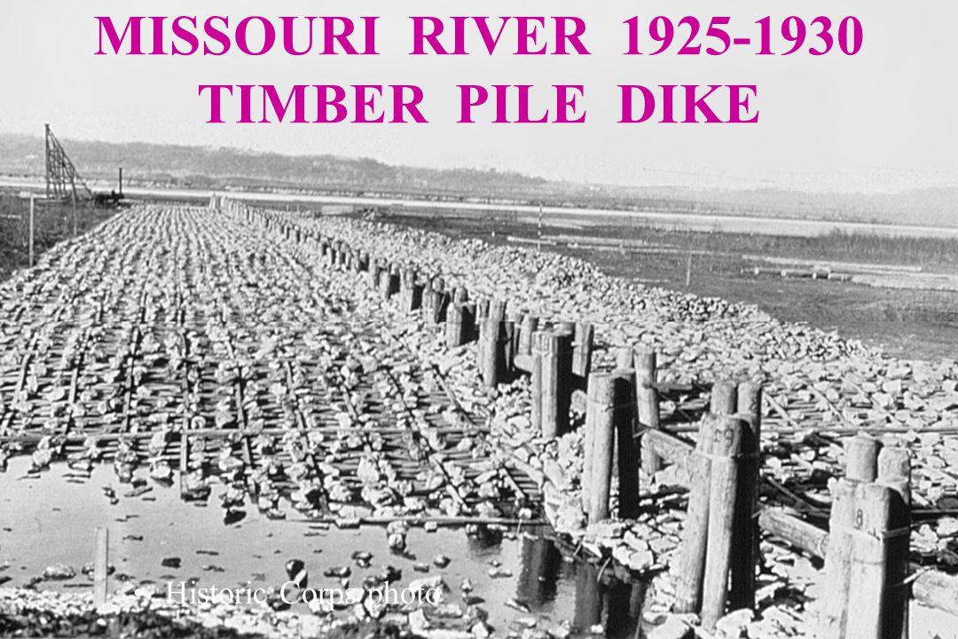 MISSOURI RIVER 1925-1930 - TIMBER PILE DIKE Historic Corps photo