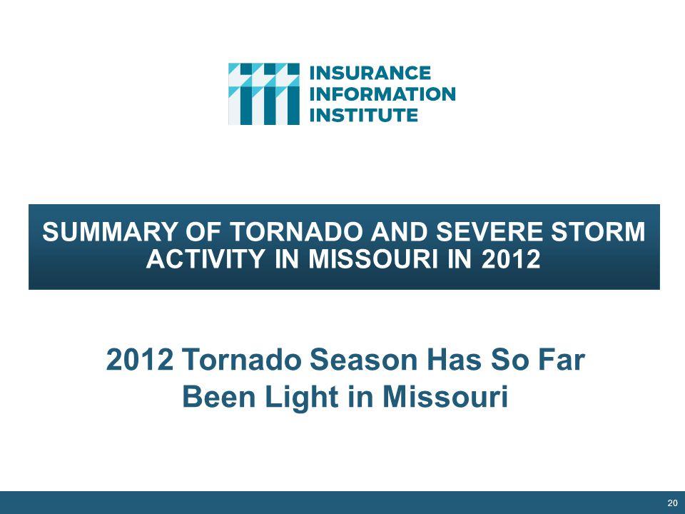 20 SUMMARY OF TORNADO AND SEVERE STORM ACTIVITY IN MISSOURI IN 2012 2012 Tornado Season Has So Far Been Light in Missouri