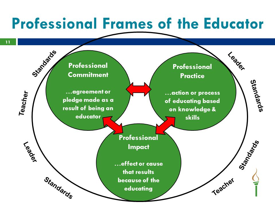 Professional Frames of the Educator 11 Professional Commitment …agreement or pledge made as a result of being an educator Professional Practice …action or process of educating based on knowledge & skills Professional Impact …effect or cause that results because of the educating Teacher Standards Leader Teacher Leader