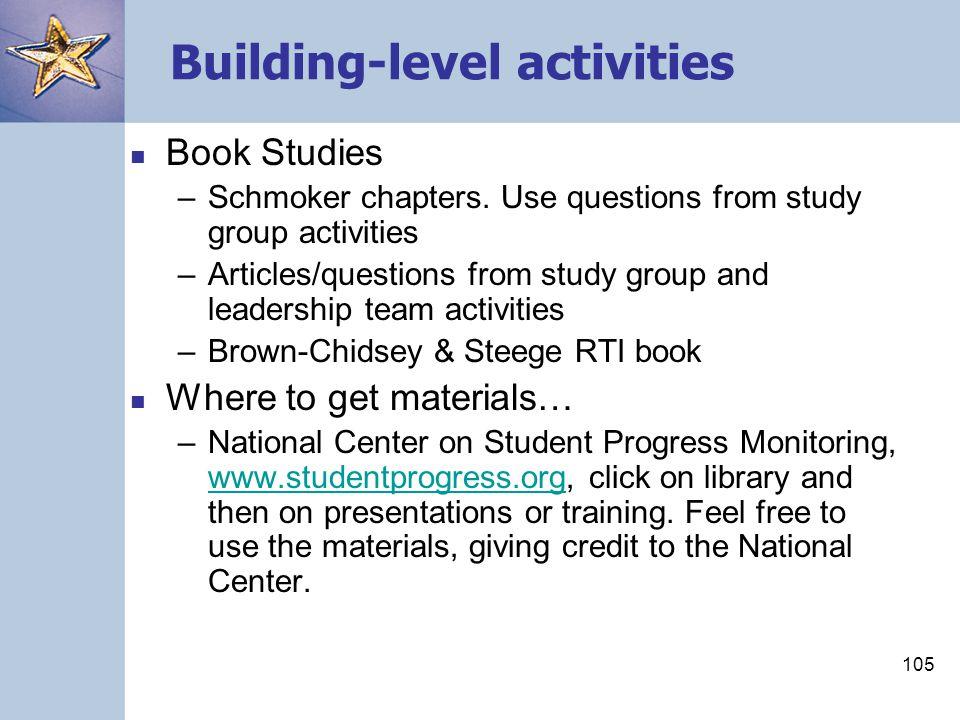 105 Building-level activities Book Studies –Schmoker chapters.