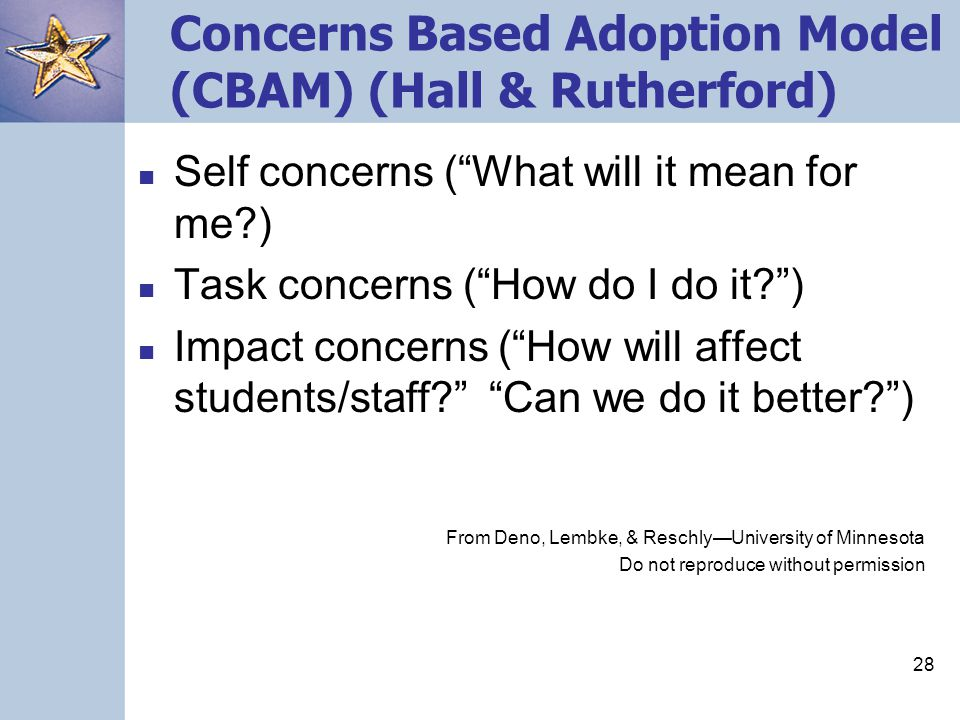 28 Concerns Based Adoption Model (CBAM) (Hall & Rutherford) Self concerns ( What will it mean for me?) Task concerns ( How do I do it? ) Impact concerns ( How will affect students/staff? Can we do it better? ) From Deno, Lembke, & Reschly—University of Minnesota Do not reproduce without permission