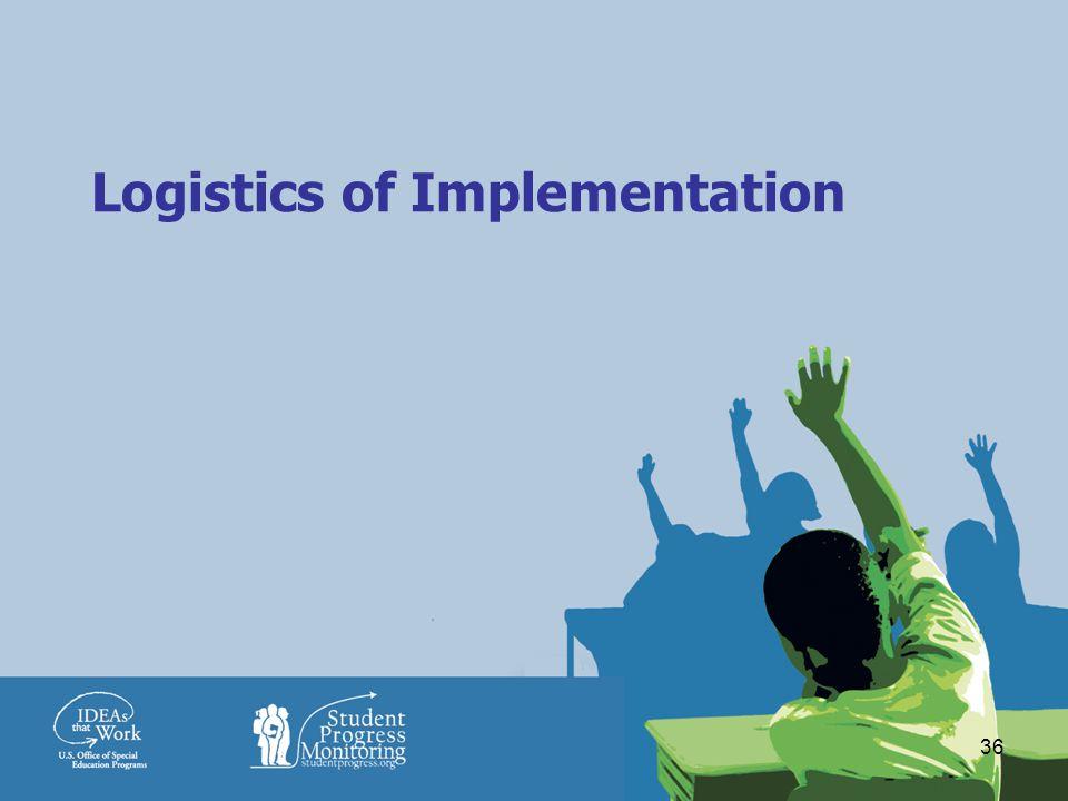 36 Logistics of Implementation