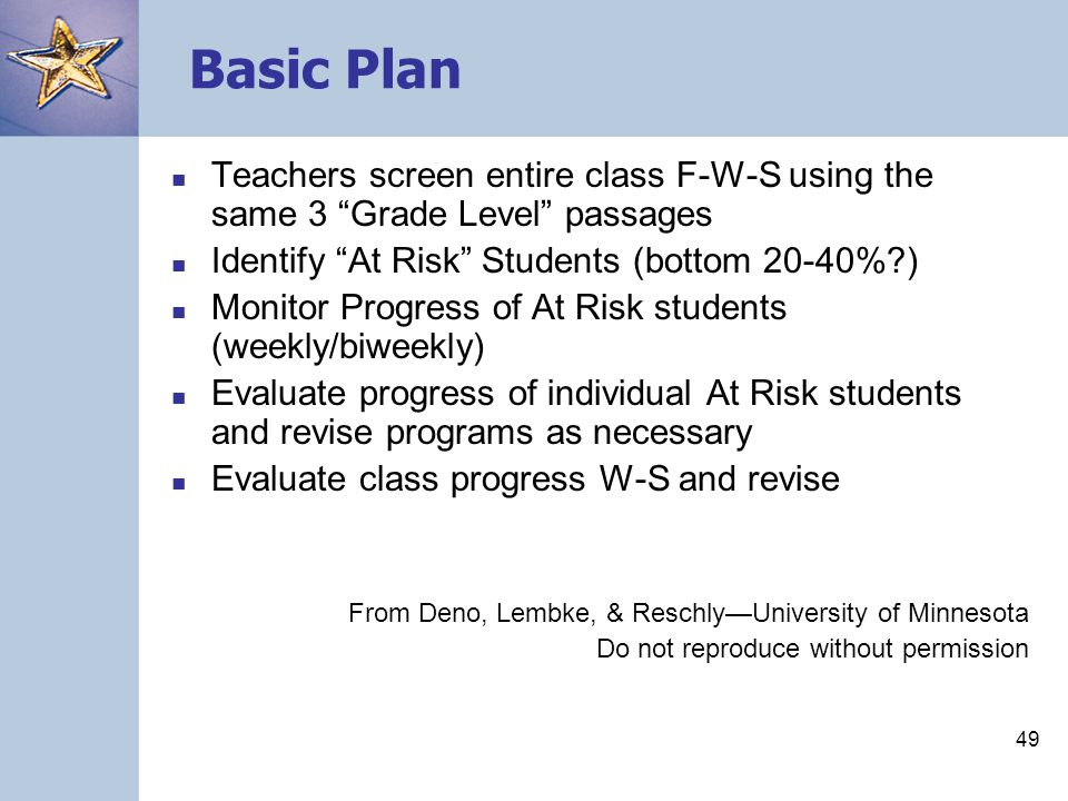 49 Basic Plan Teachers screen entire class F-W-S using the same 3 Grade Level passages Identify At Risk Students (bottom 20-40%?) Monitor Progress of At Risk students (weekly/biweekly) Evaluate progress of individual At Risk students and revise programs as necessary Evaluate class progress W-S and revise From Deno, Lembke, & Reschly—University of Minnesota Do not reproduce without permission