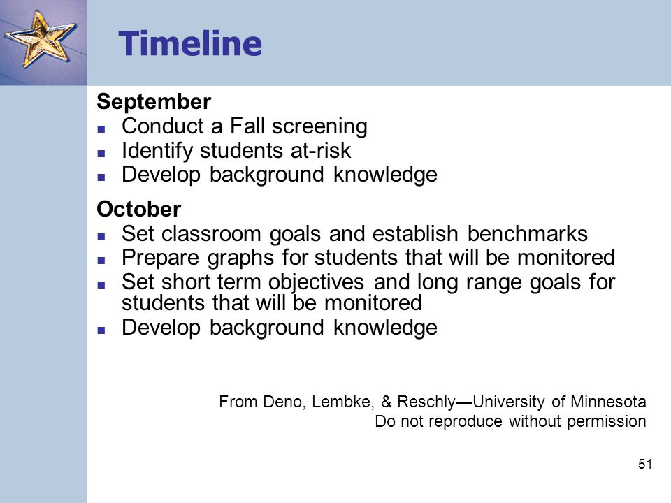 50 Timeline July/August Decide on the level at which you will proceed (classroom, grade, or school-wide) Prepare materials Decide on a monitoring schedule Practice probe administration and scoring Develop a data-management system Develop background knowledge From Deno, Lembke, & Reschly—University of Minnesota Do not reproduce without permission