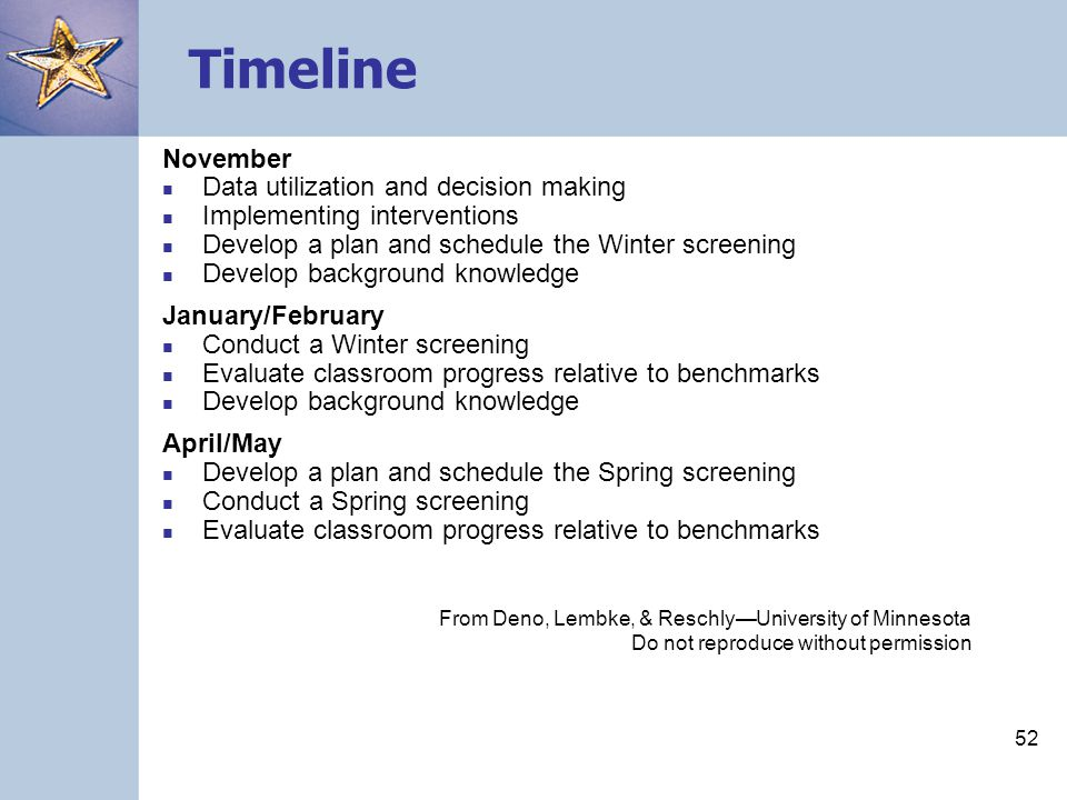 51 Timeline September Conduct a Fall screening Identify students at-risk Develop background knowledge October Set classroom goals and establish benchmarks Prepare graphs for students that will be monitored Set short term objectives and long range goals for students that will be monitored Develop background knowledge From Deno, Lembke, & Reschly—University of Minnesota Do not reproduce without permission