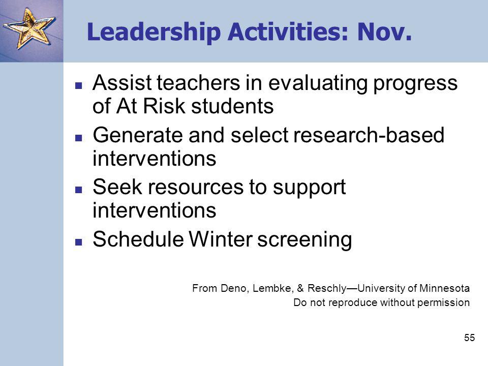 55 Leadership Activities: Nov.