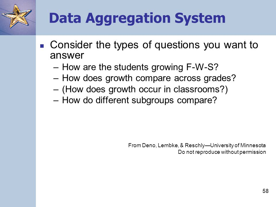 58 Data Aggregation System Consider the types of questions you want to answer –How are the students growing F-W-S.