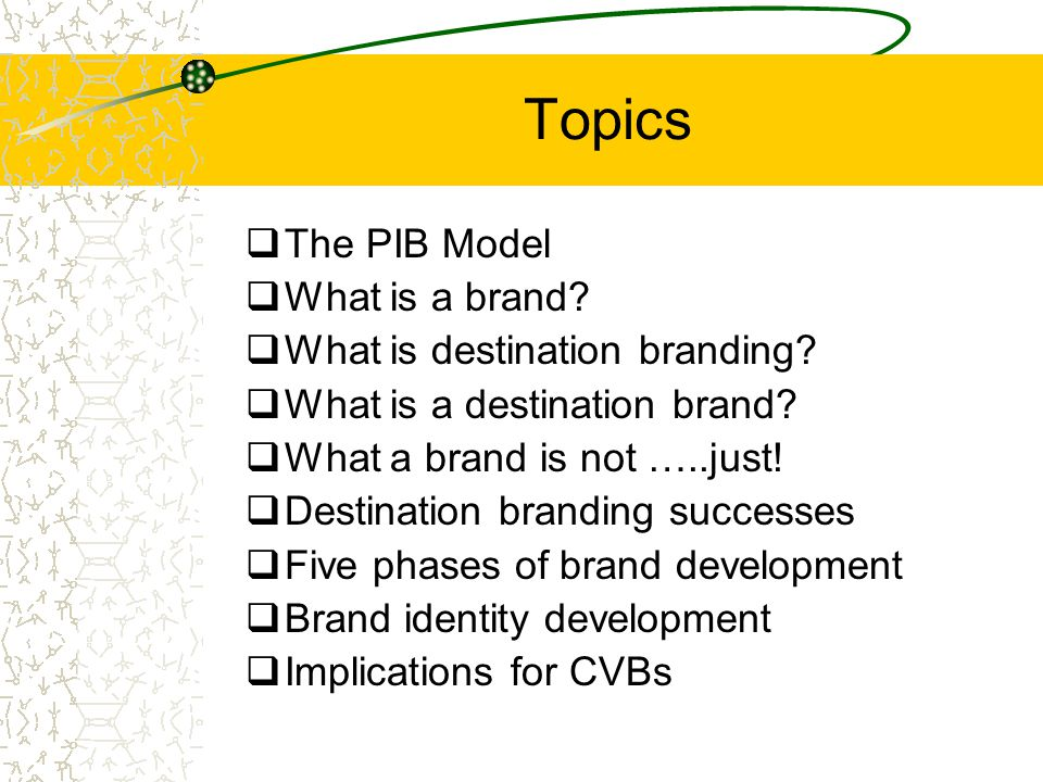 Topics  The PIB Model  What is a brand?  What is destination branding?  What is a destination brand?  What a brand is not …..just!  Destination