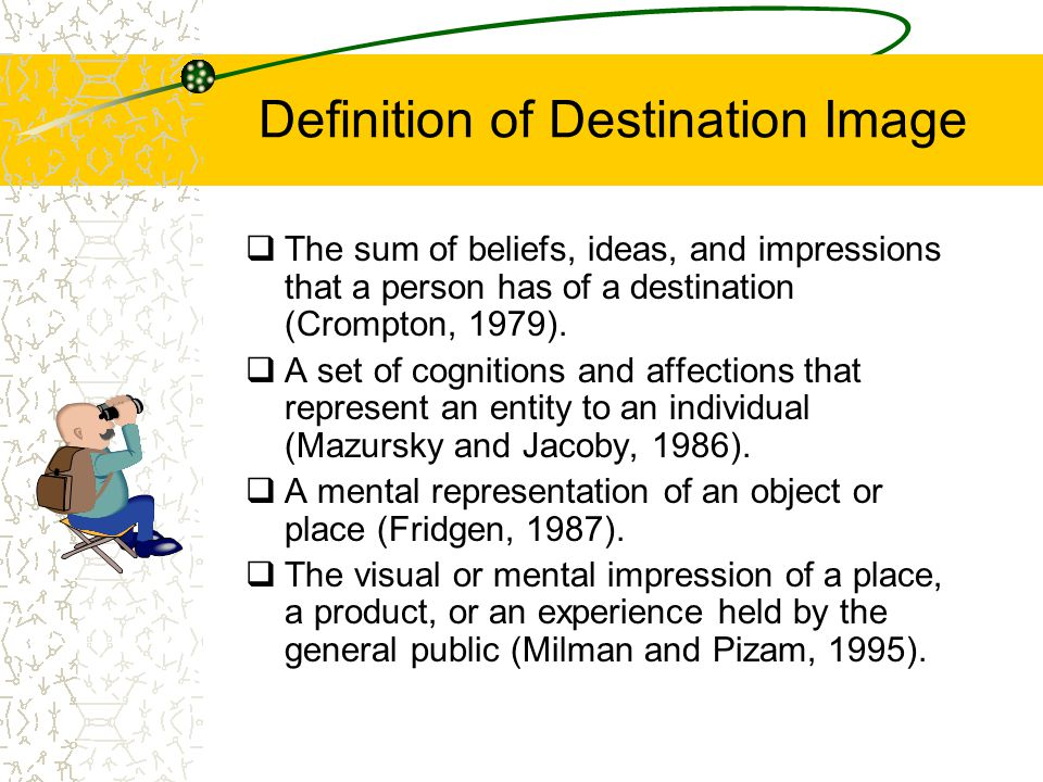 Definition of Destination Image  The sum of beliefs, ideas, and impressions that a person has of a destination (Crompton, 1979).  A set of cognition