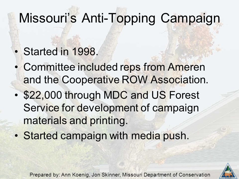 Prepared by: Ann Koenig, Jon Skinner, Missouri Department of Conservation Started in 1998. Committee included reps from Ameren and the Cooperative ROW