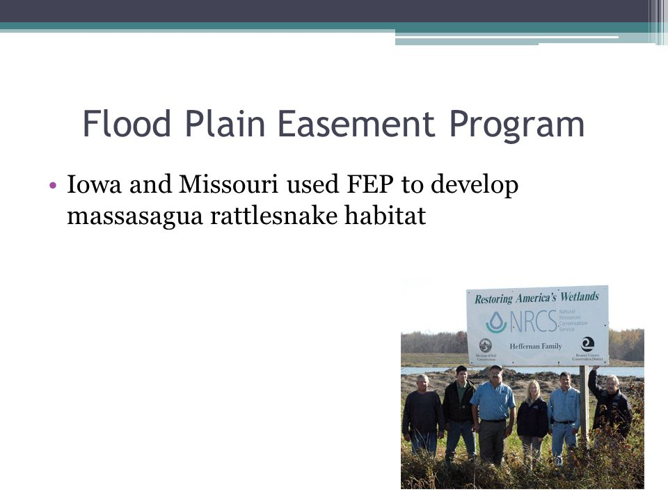 Flood Plain Easement Program Iowa and Missouri used FEP to develop massasagua rattlesnake habitat