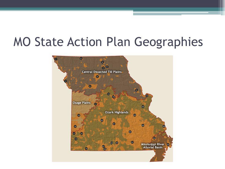 Missouri State Action Plan and WHIP Prairie Focus Areas Glade and Savanna Restoration Bobwhite Quail