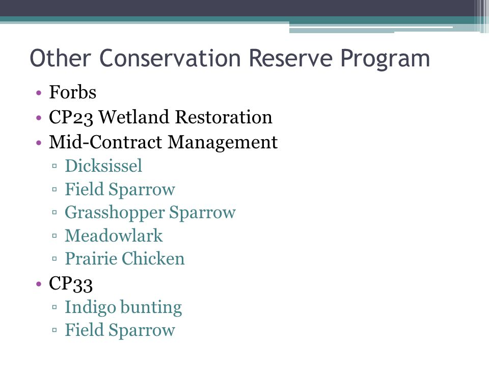 Other Conservation Reserve Program Forbs CP23 Wetland Restoration Mid-Contract Management ▫Dicksissel ▫Field Sparrow ▫Grasshopper Sparrow ▫Meadowlark ▫Prairie Chicken CP33 ▫Indigo bunting ▫Field Sparrow