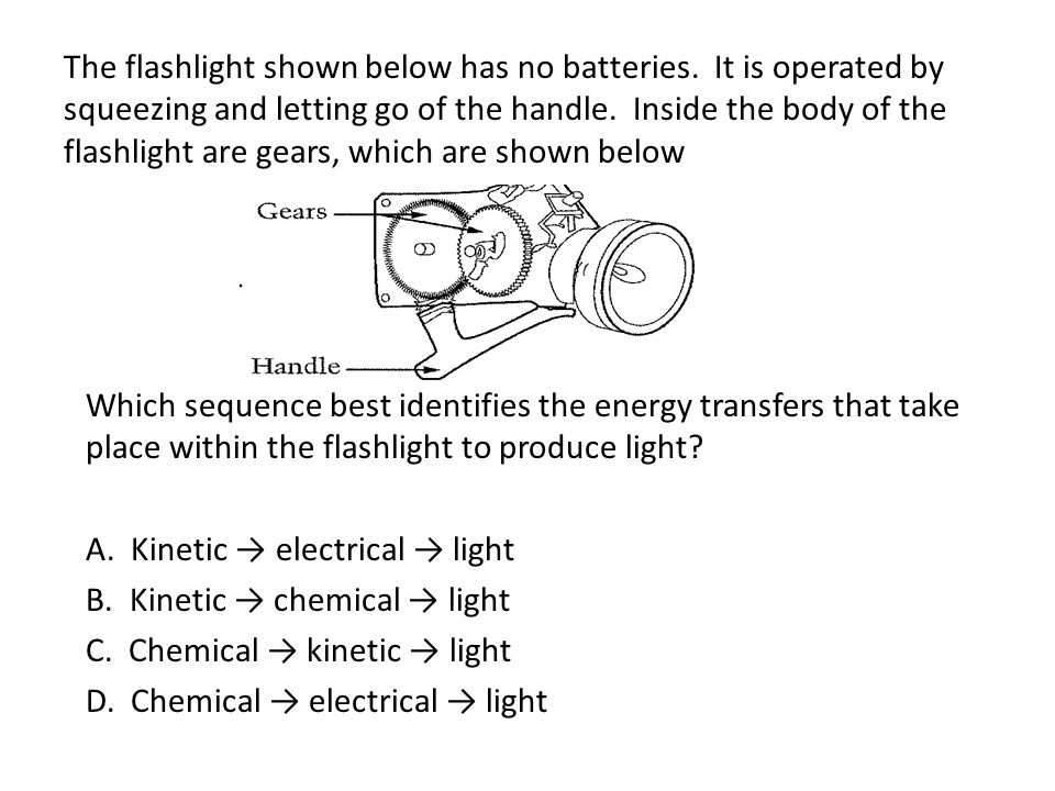 The flashlight shown below has no batteries. It is operated by squeezing and letting go of the handle. Inside the body of the flashlight are gears, wh