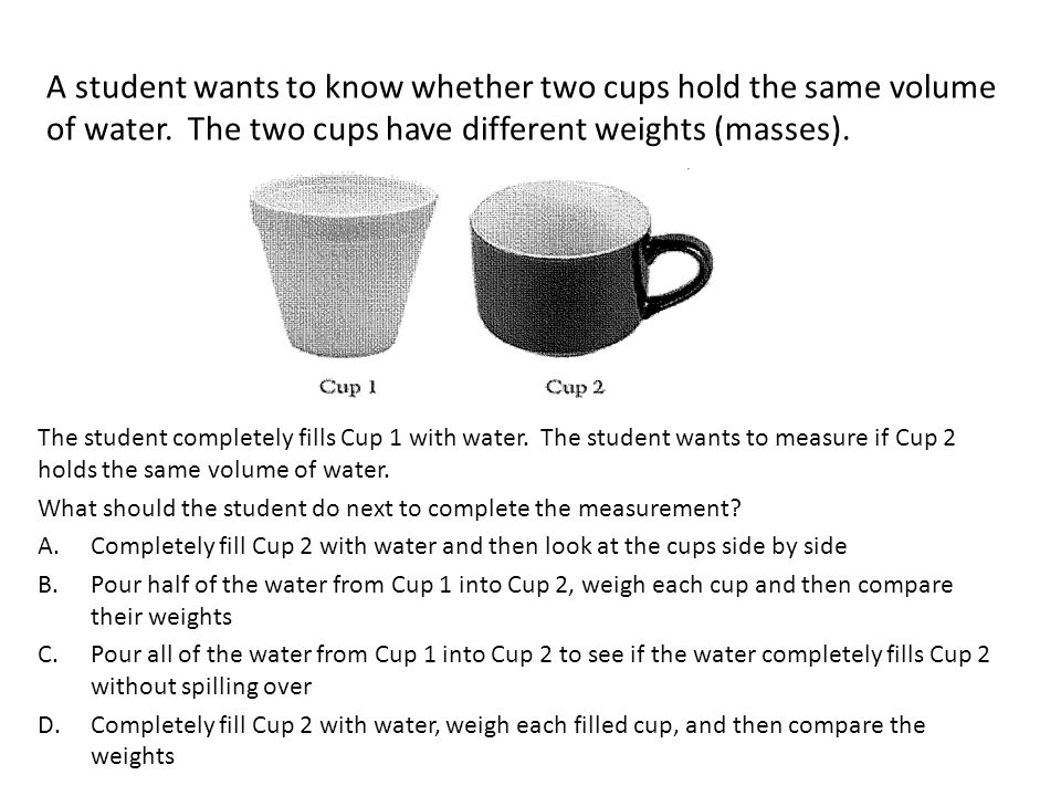 A student wants to know whether two cups hold the same volume of water. The two cups have different weights (masses). The student completely fills Cup