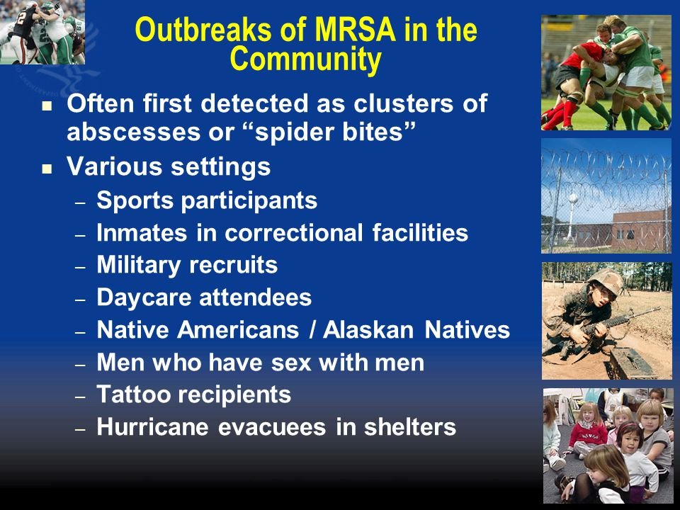 Outbreaks of MRSA in the Community Often first detected as clusters of abscesses or spider bites Various settings – Sports participants – Inmates in correctional facilities – Military recruits – Daycare attendees – Native Americans / Alaskan Natives – Men who have sex with men – Tattoo recipients – Hurricane evacuees in shelters