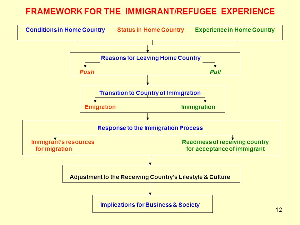12 FRAMEWORK FOR THE IMMIGRANT/REFUGEE EXPERIENCE Conditions in Home Country Status in Home Country Experience in Home Country Reasons for Leaving Hom