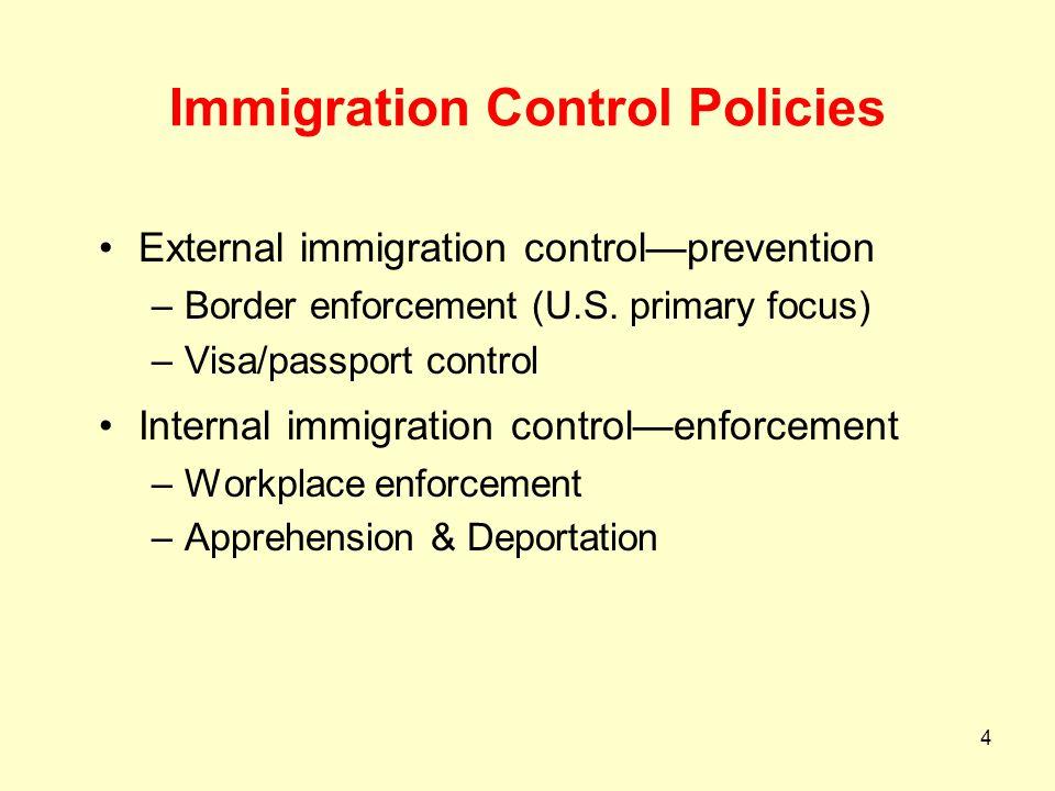 4 Immigration Control Policies External immigration control—prevention –Border enforcement (U.S. primary focus) –Visa/passport control Internal immigr