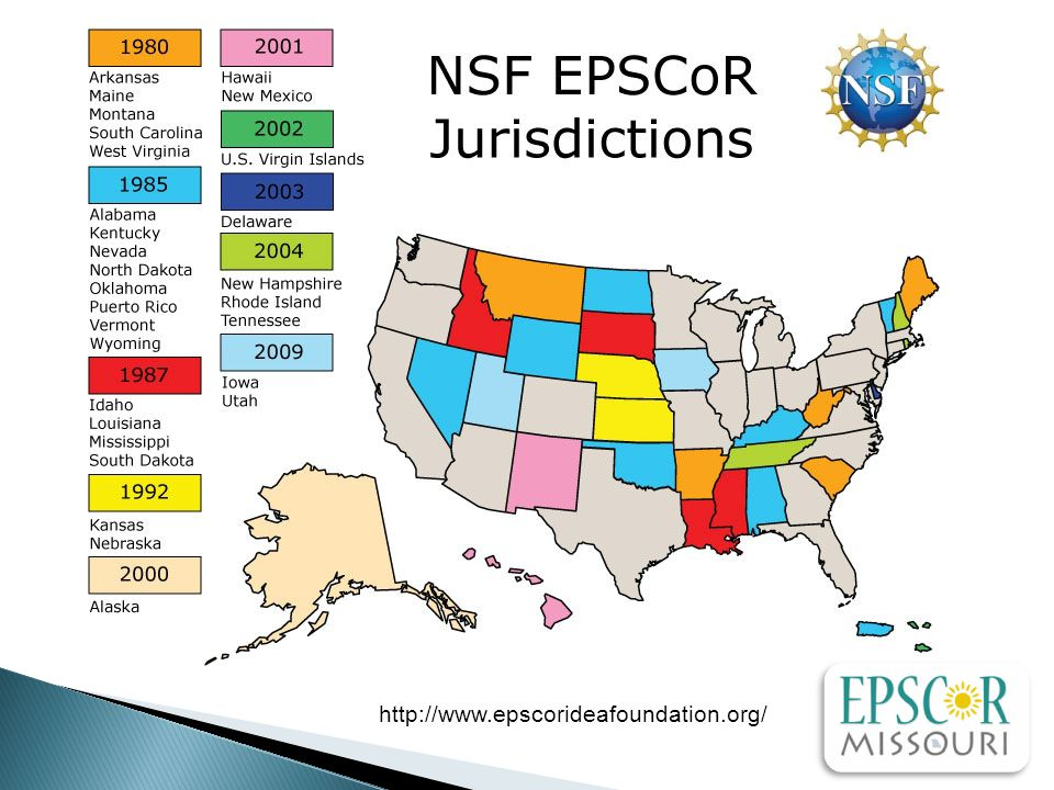 Where are we now.Missouri's NSF funding made it EPSCoR-eligible in Fall 2011 (0.72% of NSF Total).