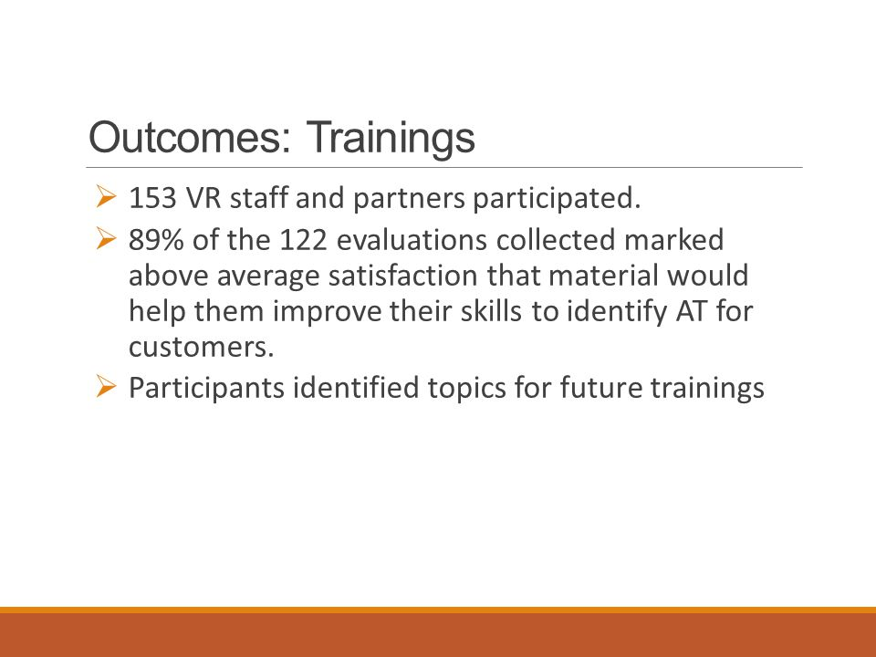 Outcomes: Trainings  153 VR staff and partners participated.
