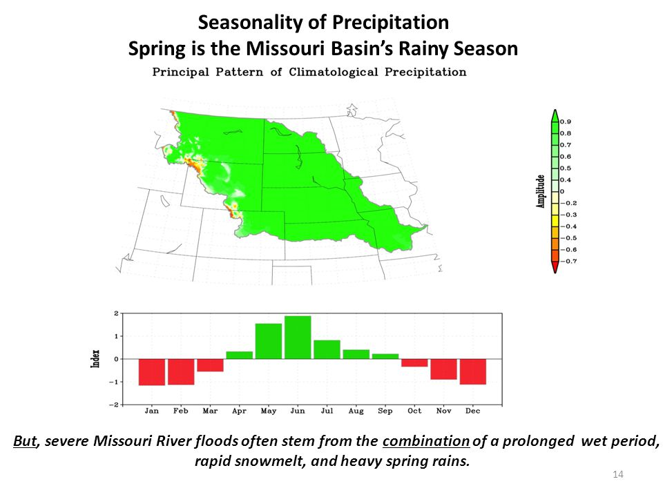 But, severe Missouri River floods often stem from the combination of a prolonged wet period, rapid snowmelt, and heavy spring rains.