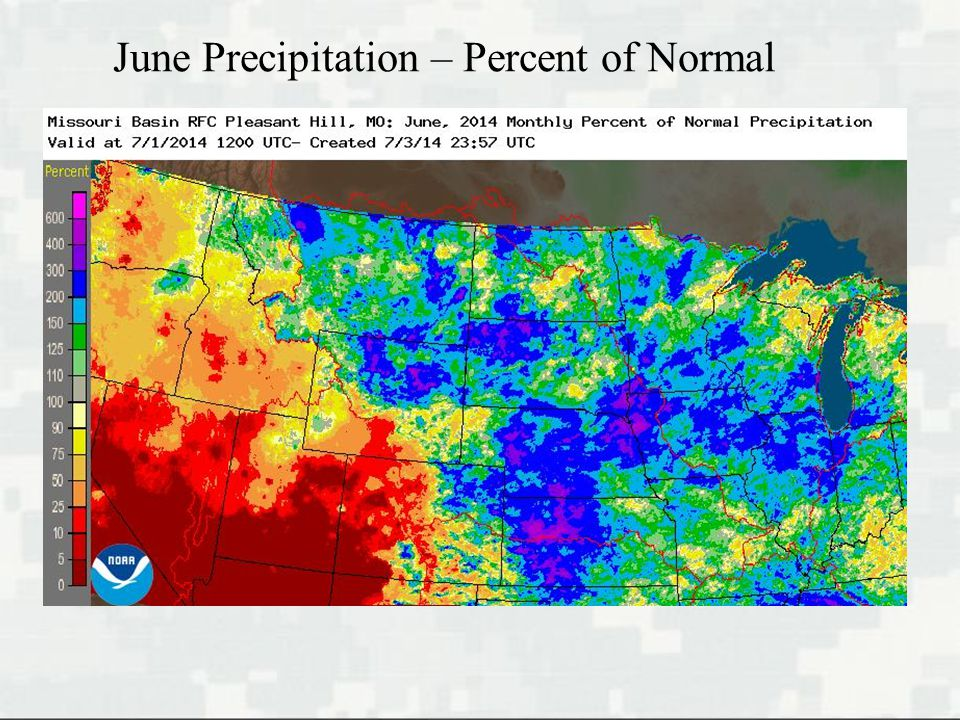 June Precipitation – Percent of Normal