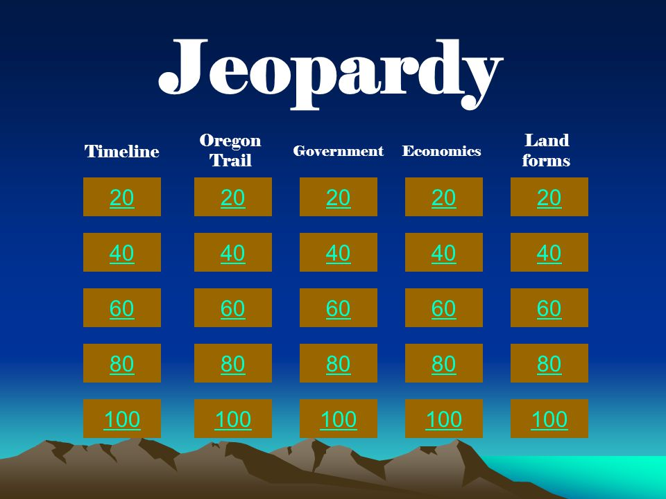 20 40 60 80 100 20 40 60 80 100 20 40 60 80 100 20 40 60 80 100 20 40 60 80 100 Jeopardy Timeline Oregon Trail GovernmentEconomics Land forms