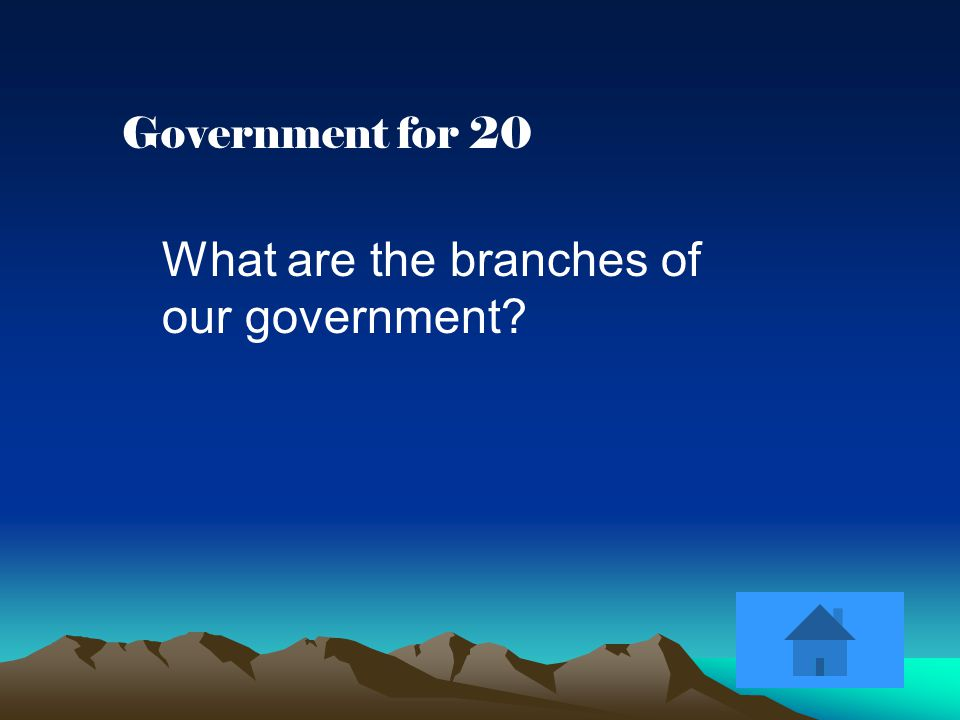Government for 20 What are the branches of our government