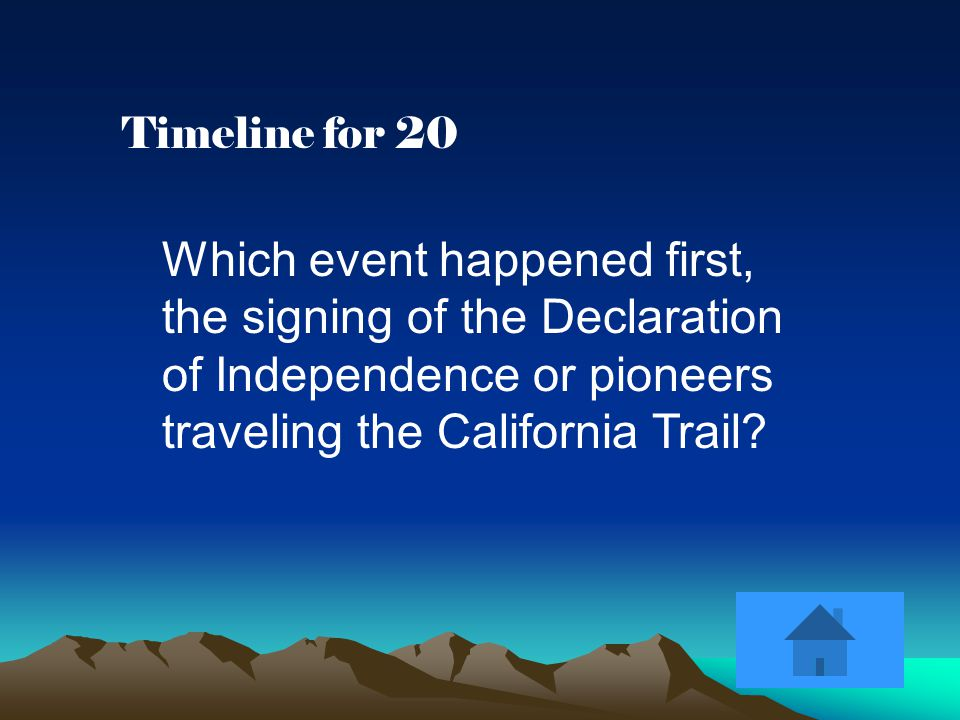 Timeline for 20 Which event happened first, the signing of the Declaration of Independence or pioneers traveling the California Trail