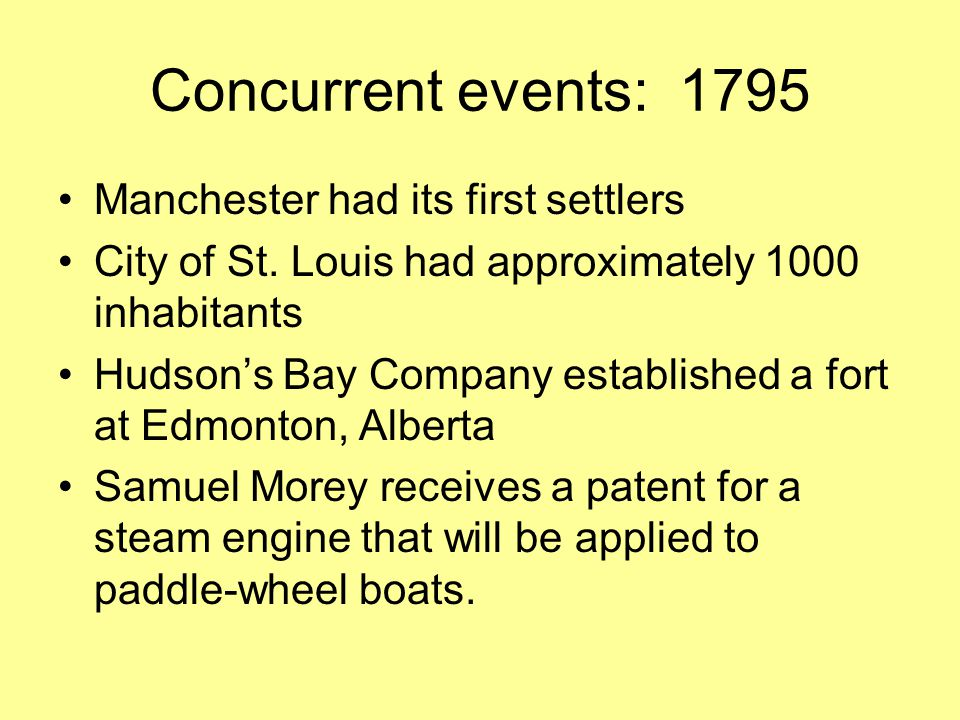 Concurrent events: 1795 Manchester had its first settlers City of St.