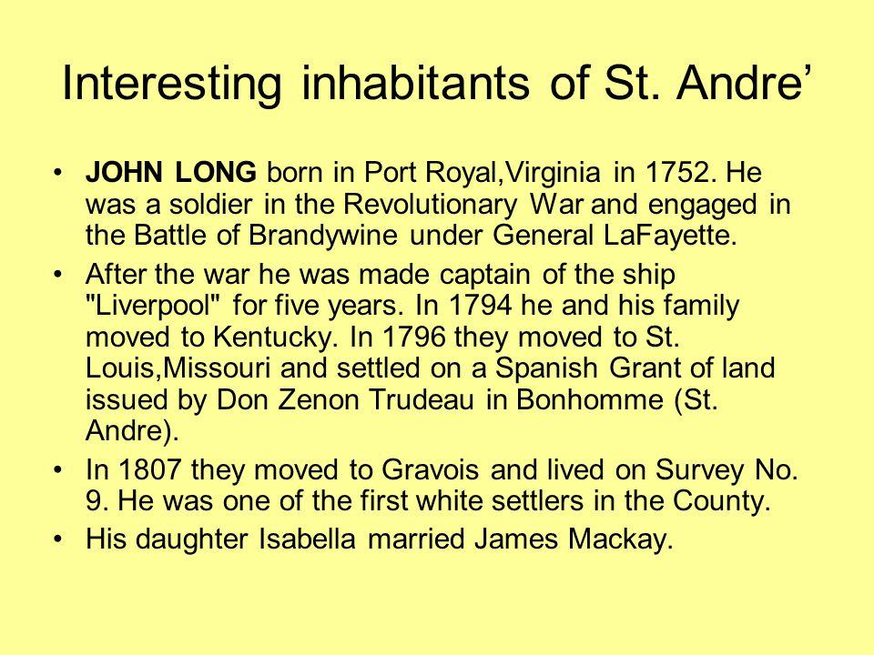 The Longs Father: Captain John Long Elisabeth Isabella Louise Long married James Mackay.