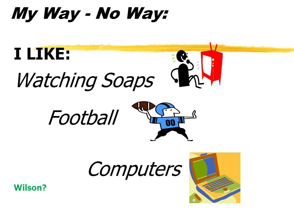 My Way - No Way: I LIKE: Watching Soaps Football Computers Wilson?