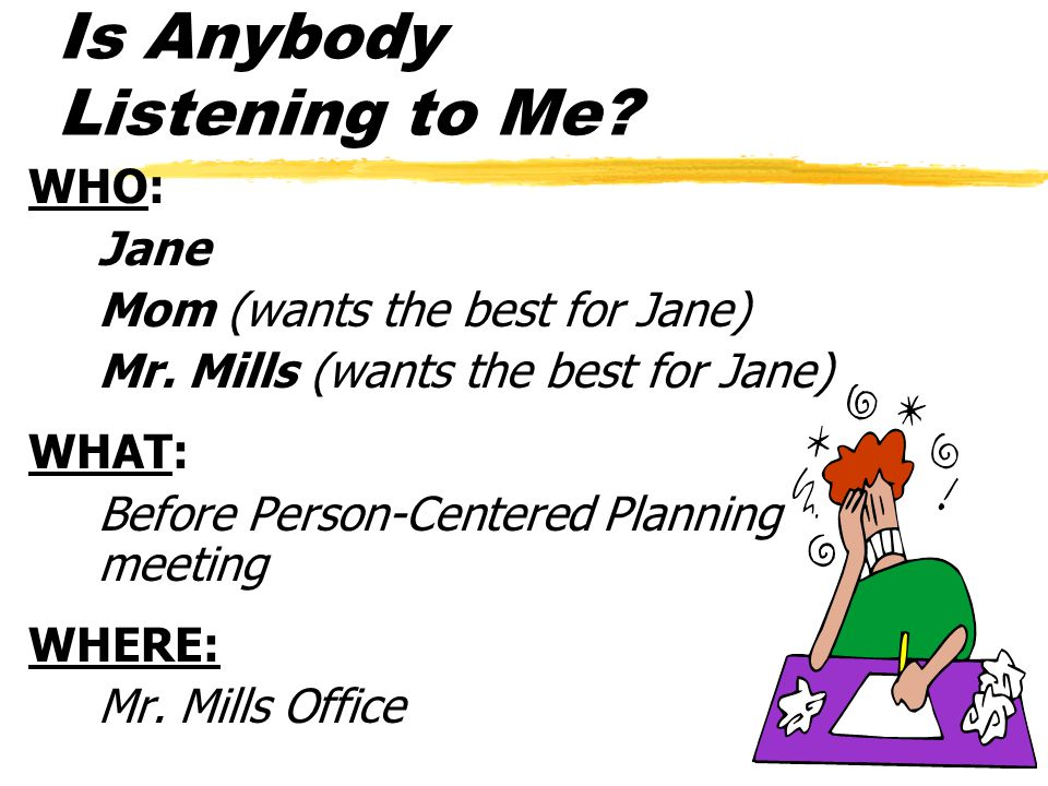 Is Anybody Listening to Me. WHO: Jane Mom (wants the best for Jane) Mr.