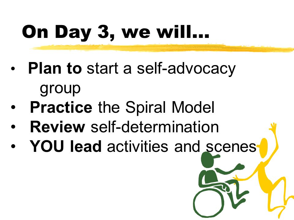On Day 3, we will… Plan to start a self-advocacy group Practice the Spiral Model Review self-determination YOU lead activities and scenes