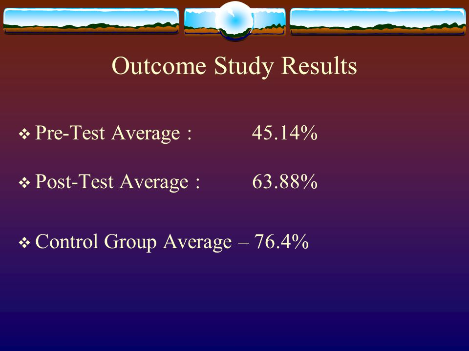 Outcome Study Results  Pre-Test Average : 45.14%  Post-Test Average : 63.88%  Control Group Average – 76.4%