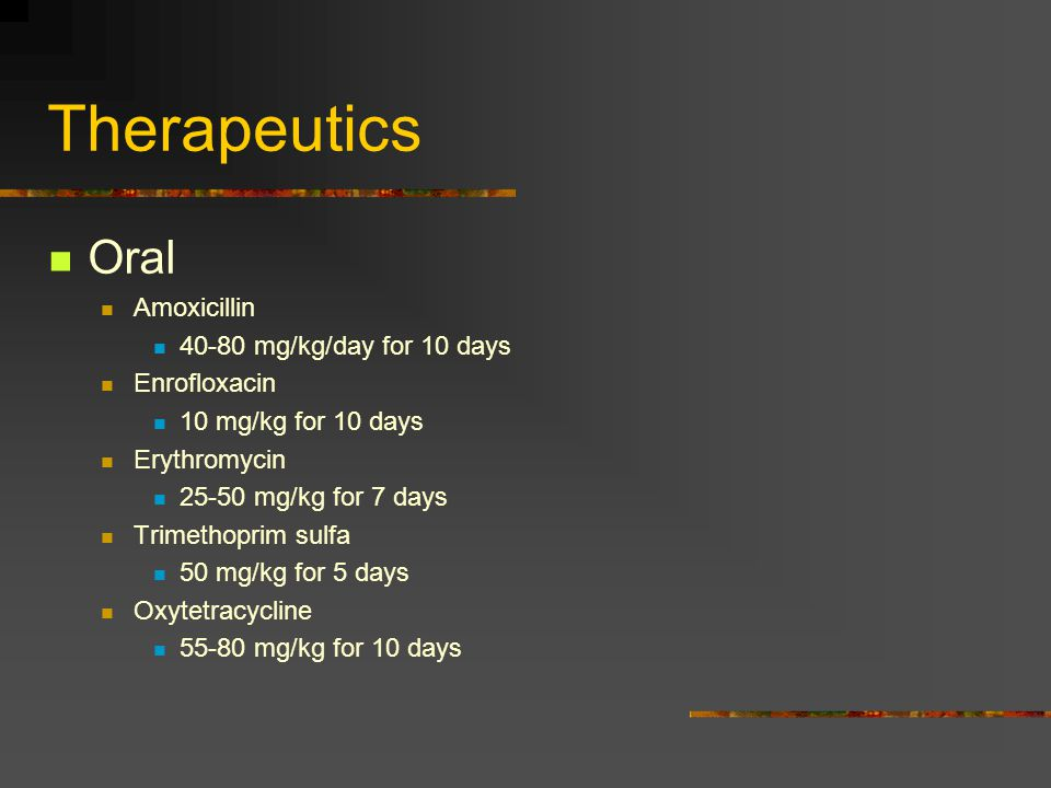 Therapeutics Injectables Enrofloxacin 10 mg/kg IM or IP every 3 days Chloramphenicol 20-50 mg/kg IP once a week for 2 weeks for ulcer disease in goldfish TMPS: 50 mg/kg IP daily for 7 days