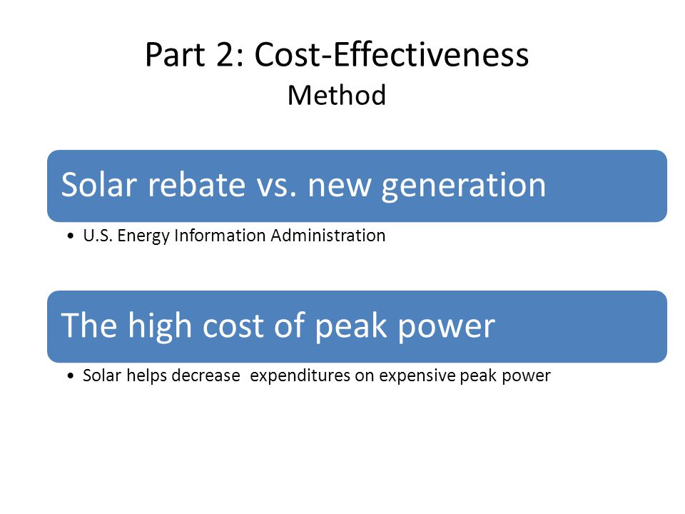 Part 2: Cost-Effectiveness Method Solar rebate vs.