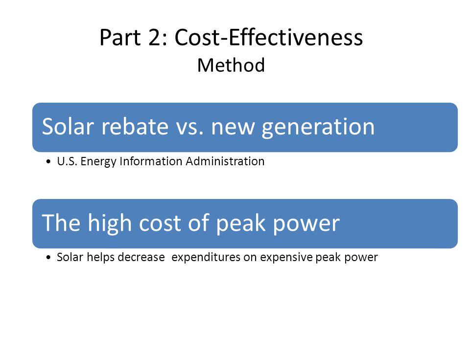 Part 2: Cost-Effectiveness Method Solar rebate vs. new generation U.S. Energy Information Administration The high cost of peak power Solar helps decre