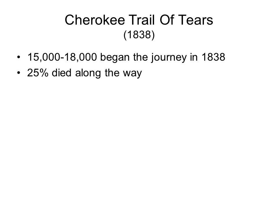 Cherokee Trail Of Tears Background Cherokee had been told to assimilate into US society & many did They were still forced to move
