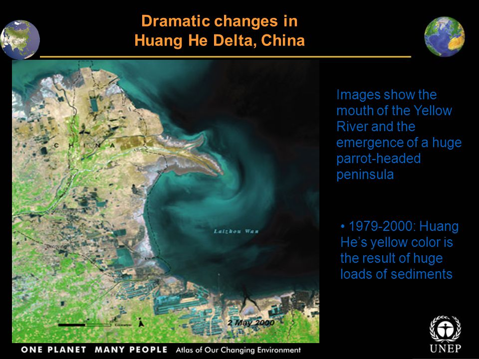 Dramatic changes in Huang He Delta, China Images show the mouth of the Yellow River and the emergence of a huge parrot-headed peninsula 1979-2000: Huang He's yellow color is the result of huge loads of sediments