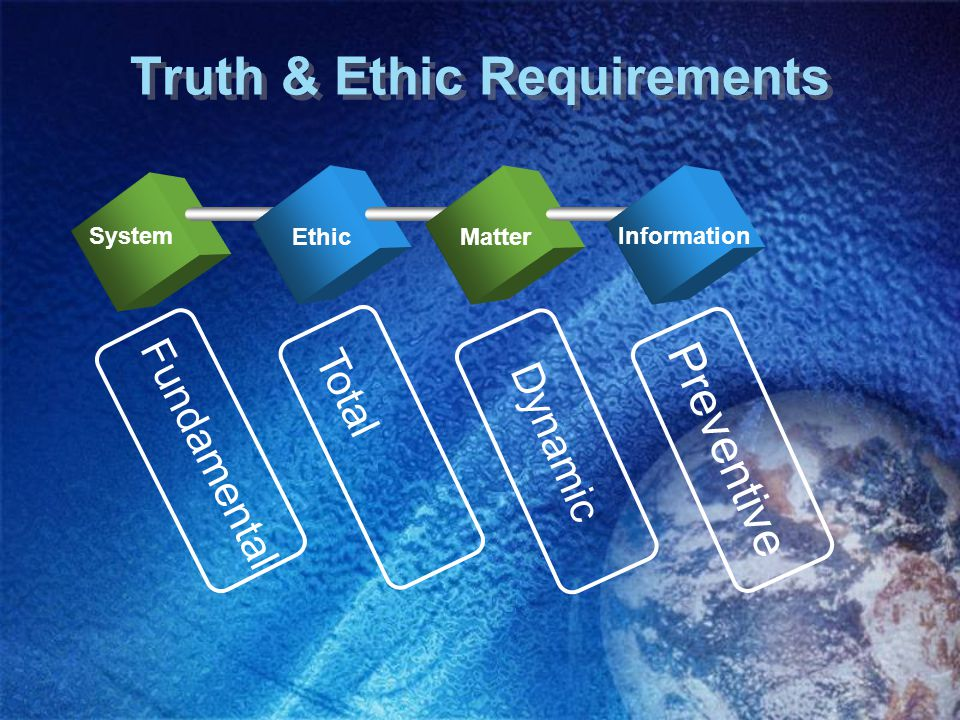 Truth & Ethic Requirements System EthicMatter Information Dynamic Preventive Fundamental Total