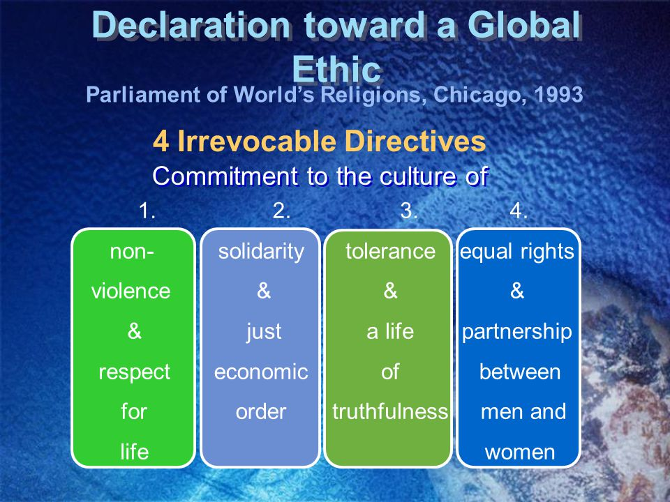 Declaration toward a Global Ethic 4 Irrevocable Directives 1.