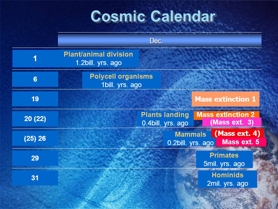 Cosmic Calendar 1 Plants landing 0.4bill. yrs. ago Polycell organisms 1bill.