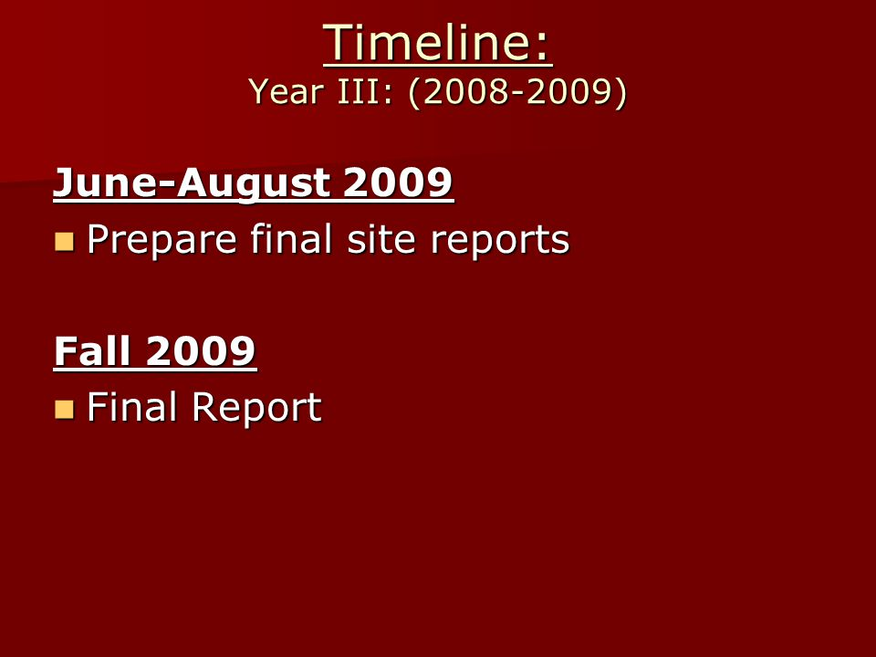 Timeline: Year III: (2008-2009) June-August 2009 Prepare final site reports Prepare final site reports Fall 2009 Final Report Final Report